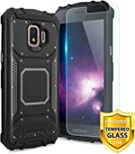 TJS Phone Case for Samsung Galaxy J2 Core/J2 2019/J2 Pure/J2 Dash/J2 Shine, with [Tempered Glass Screen Protector] Aluminum Metal Premium Shockproof Military Built-in Metal Plate Back Cover (Black)