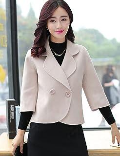 Fanru 梵如 女式 韩版修身双排扣短款毛呢大衣女 气质外套女装毛呢外套冬 F106-3123 (M, 米白色)