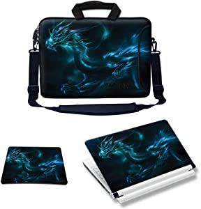 Meffort Inc Custom/Personalized Laptop Bundle Deal - Includes Bag with Side Pocket Skin Sticker & Mouse Pad, Customized Your Name (14 Inch, Blue Dragon)