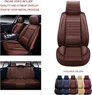 Oasis Auto OS-002 Leather Universal Car Seat Covers Automotive Vehicle Cushion That Fits All Sedan Most SUV and Small Pick-Up Truck (Brown, Full Size)
