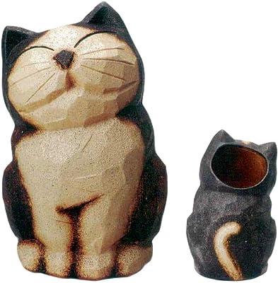 ヤマ庄陶器 傘立て ブラウンなど 約奥32.0×幅32.5×高52.0cm 信楽焼 猫傘立