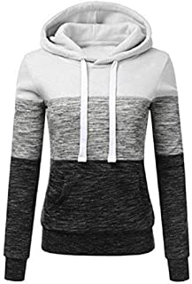 Women's Long-Sleeve Three-Color Stitching Drawstring Pullover Blouse Casual Hooded Sweatshirt