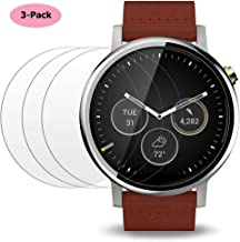 ACUTAS (Pack of 3) Tempered Glass Screen Protector for Moto 360 2nd Gen 46mm Smart Watch, Premium Clear Screen Protective Film for Motorola Moto 360 46mm