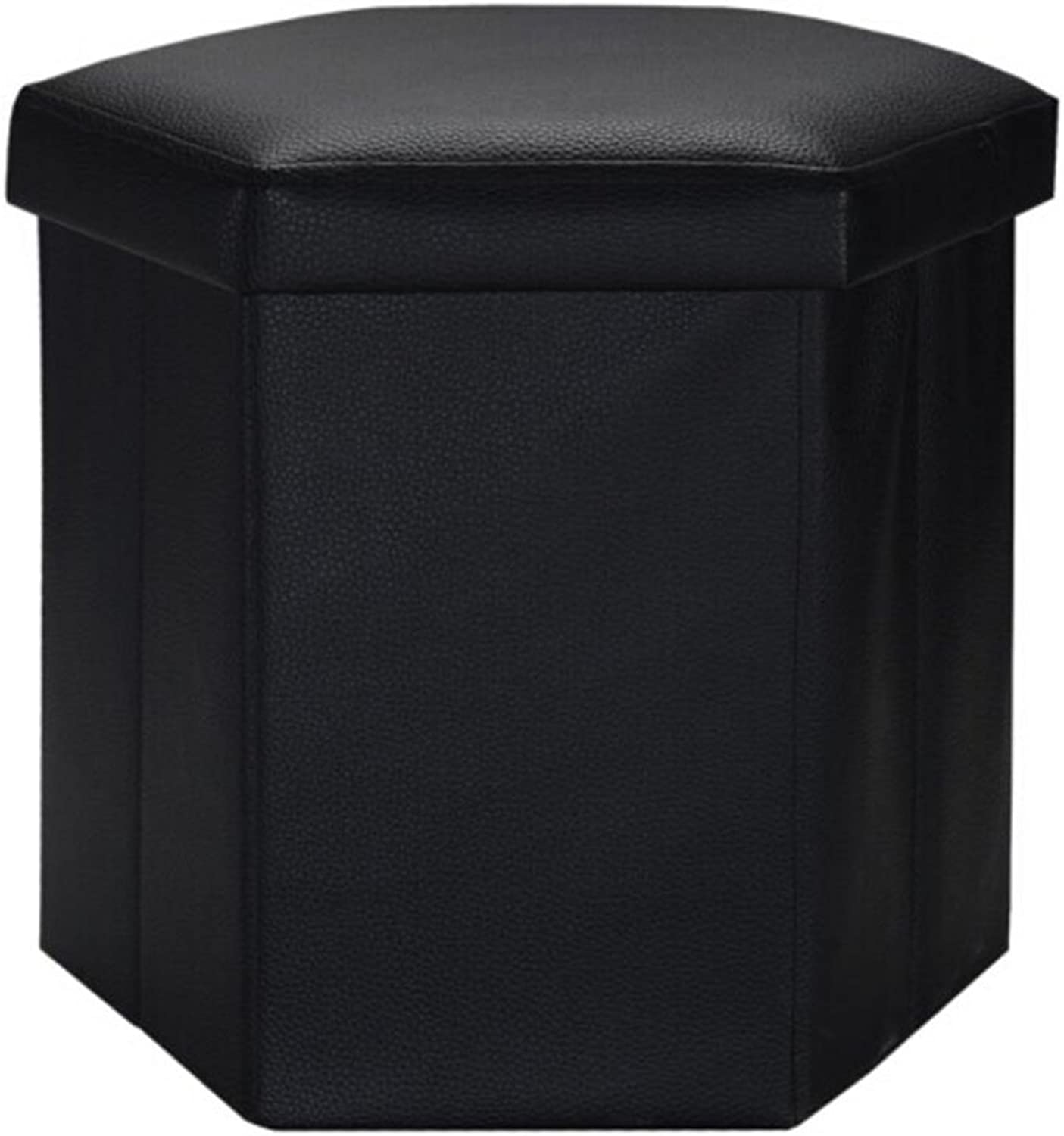 A-Fort Black 6-Corner Multi-Function Storage Stool Footstool Leather Stool Folding shoes Bench (color   Black, Size   42  38  38cm)