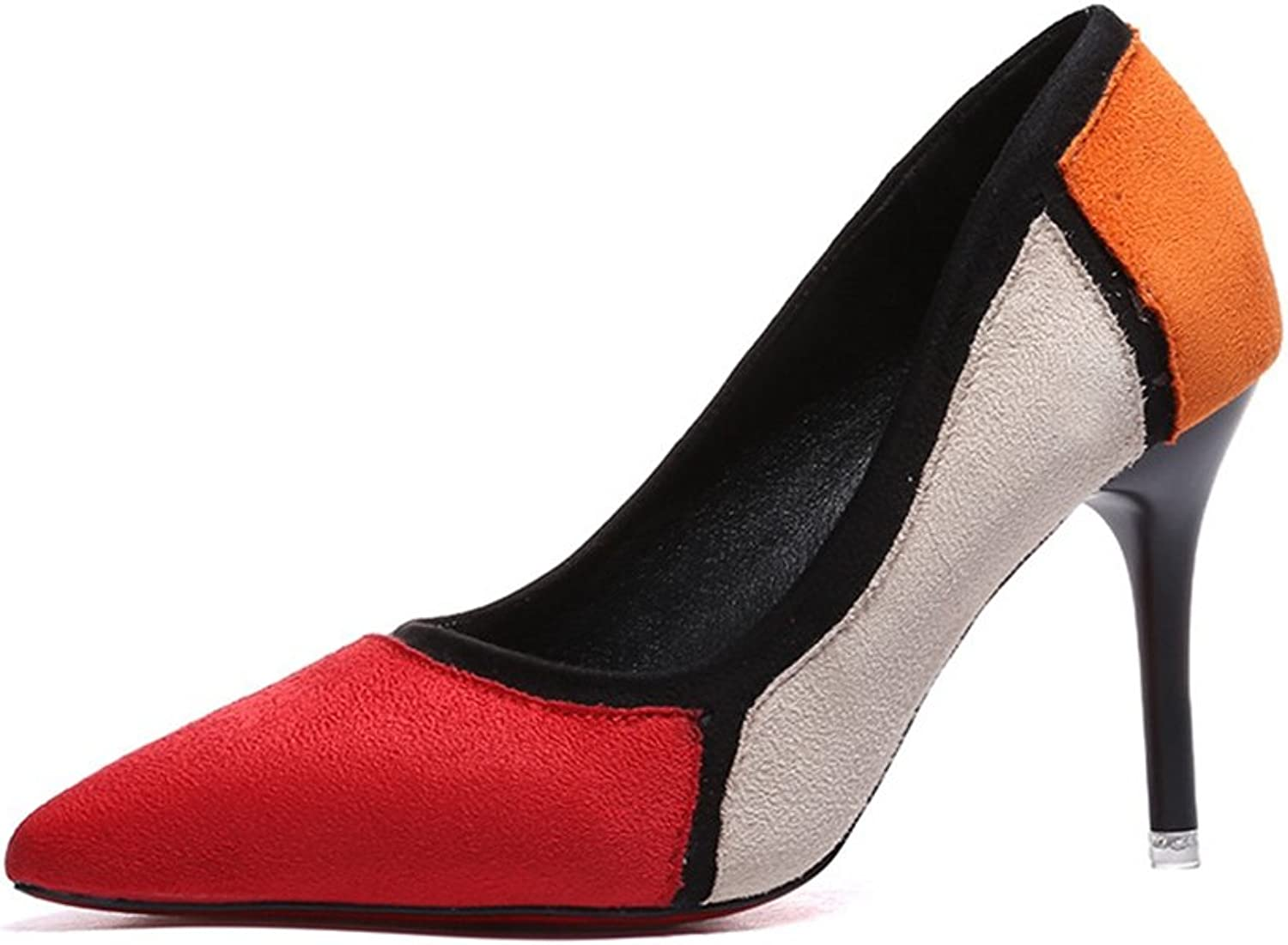 T-JULY Penny Loafers shoes for Women - Modern Slip On High Heel Pointed Toe Suede