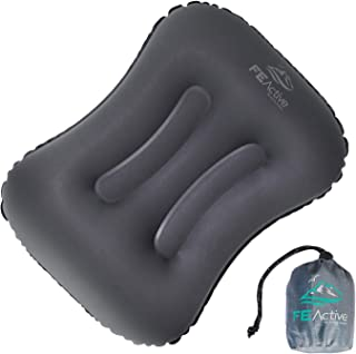 FE Active Camping Inflatable Pillow - Dual Contours Ergonomically Designed for Men & Women. Sleeping Pillow Camping Gear f...
