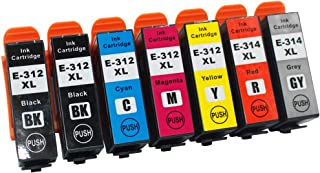 Remanufactured 312XL 314XL 312 T312 314 Ink Cartridges Remanufactured for Expression Photo HD XP-15000 Wide-Format Printer (2Black, Cyan, Magenta,Yellow, Red,Grey 7-Pack)