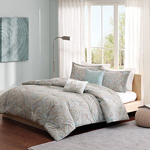 "Madison Park Pure Ronan Cotton Comforter Set-Casual Paisley Design All Season Alternative Down Cozy Bedding, Matching Shams, Decorative Pillows, King/Cal King(104""x92""), Blue, 5 Piece"