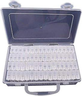 64 Grids Diamond Embroidery Box, Womdee Diamond Painting Box Storage Case for Diamond Painting Rhinestone, Mosaic Kits, Diamond Stones Dividers Box Organizer for DIY Craft (Clear)