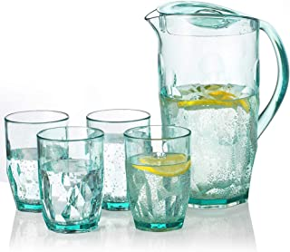 Pitcher Sets with 4 Cups, 2.1L Light-duty Shatterproof Iced Tea Pitcher BPA-free Water Pitcher with Lid for Fruit Juice Tea for Home Camping Picnics Party, Transparent Green