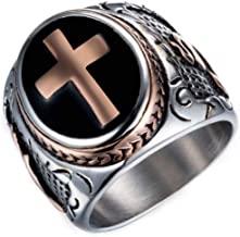 Gungneer Knights Templar Cross Stainless Steel Ring Punk Jewelry Accessories for Men Women