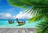 wandmotiv24 Fototapete Paradies Urlaub L 300 x 210 cm - 6 Teile Fototapeten, Wandbild, Motivtapeten, Vlies-Tapeten Boot, Palme, Meer M0495