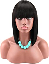 Kalyss Women's Black Color Short Bob Wig with Hair Bangs Yaki Synthetic Full Hair Wig Heat Resistant Short Straight Black ...
