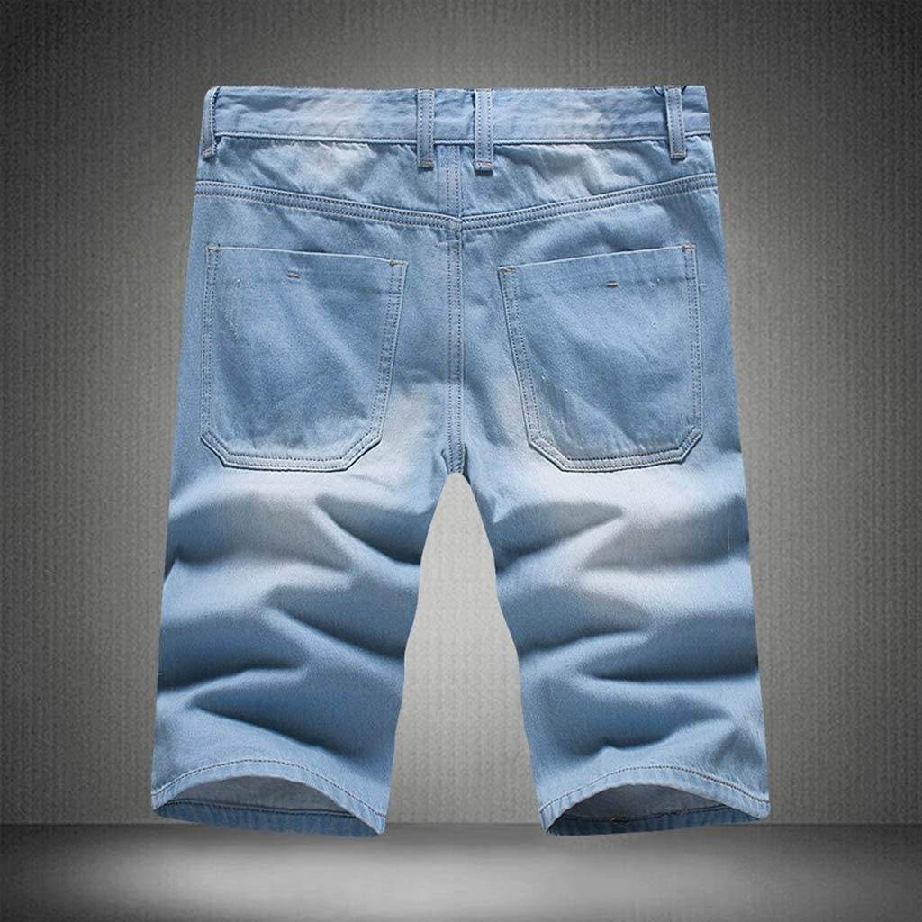 Forthery Classic Mens Ripped Distressed Straight Fit Denim Shorts(Blue,38)