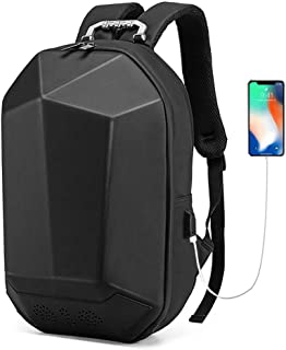 KUVV Durable Bluetooth 4.0 Music Backpack Outdoor Riding Backpack Waterproof Student Computer Bag Smart USB Charging Travel Bag Triangle Design (Color : Black)
