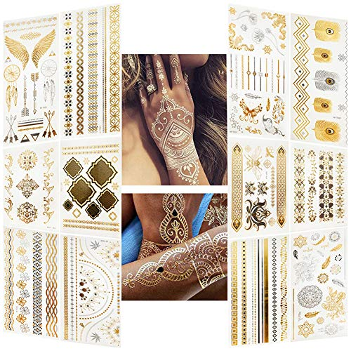 MAGIMODAC Tatuajes Temporal Metalicos Blanco Dorados Impermeable Adhesivos Plateados Para Fiesta Adultos Adolescentes (12*Tatuajes Temporal)