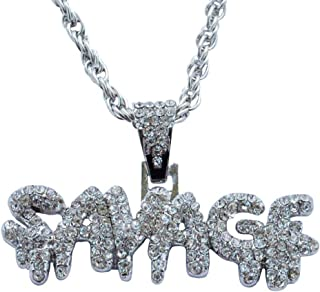 Men's Hip-hop European and American Full Diamond Letters SAVADF Pendant Necklace Trend Fashion Jewelry