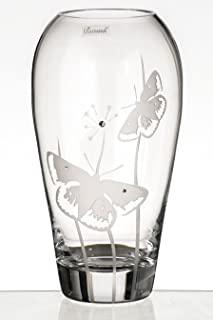 Anna's Exclusive Decor Butterfly Vase - Luxury Hand Blown Glass Barrel Vase with Crystals from Swarovski & Sandblasted Butterflies - Clear Lead Free Glass Vase - 11.8 in (30 cm)
