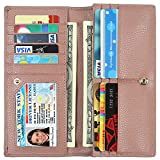 Lavemi RFID Blocking Ultra Slim Real Leather Credit Card Holder Clutch Wallets for Women(Dark Pink)