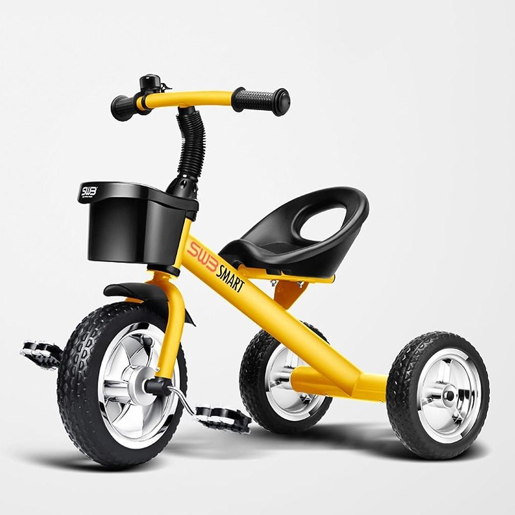 地理から故障子供の三輪車の子供の自転車Trikeの三輪車の乗り物バイクのおもちゃの三輪車の幼児の自転車インストールが必要バランスのとれた三輪車2-5歳インフレータブル運動のパズル (Color : Yellow, Size : 55 * 68 * 41cm)
