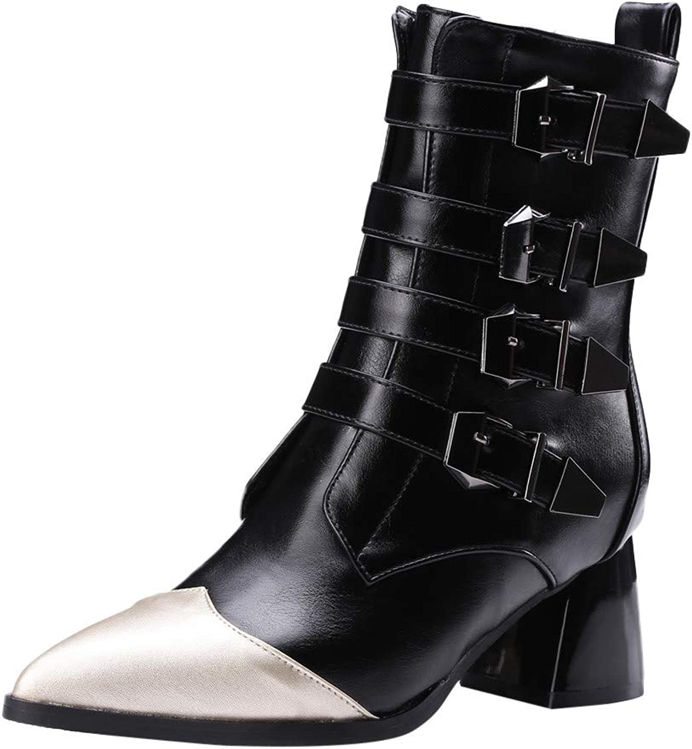 RedBrowm-women Fashion Leather Belt Buckle Thick Heel shoes Pointed-Toe Martin Boots Black