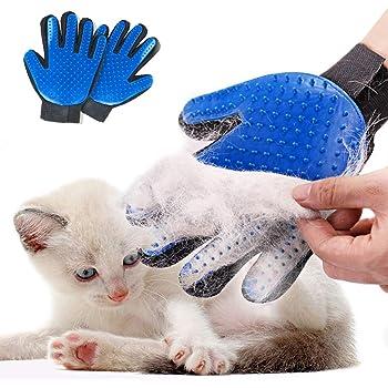 Pet Grooming Glove Hair Remover Brush Gentle Deshedding Efficient Pet Mitt Pet Massage Gloves Left & Right Hand Draw Dogs Cats Horses Long Short Fur (1Pair Left & Right Hand)