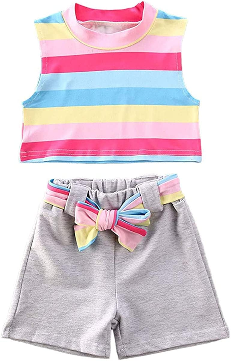 Toddler Baby Girl Summer Shorts Set Striped Rainbow Vest Tops + Bowknot Shorts Solid Casual Outfits Set
