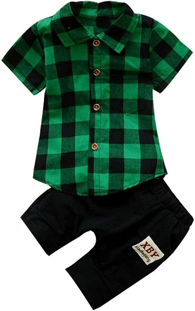 Clearance Kids Baby Special Campaign Boy Plaid Button Shirt Down Tops+Shorts T Popular product Pa