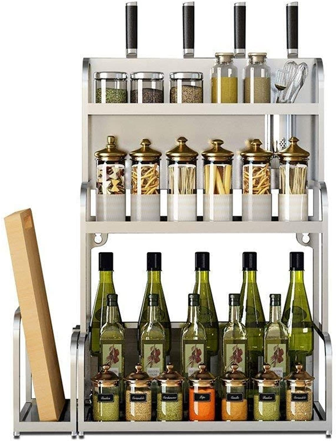 Stainless Steel Kitchen Rack Floor Multi-Layer Storage Oil Salt Sauce Vinegar Knife Supplies Seasoning Seasoning Shelf ZXMDMZ (Size   Small)