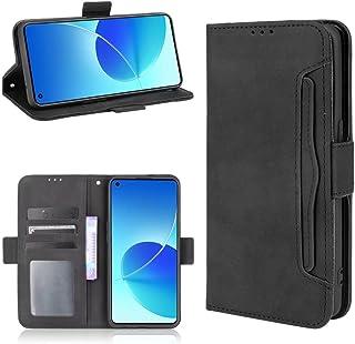 Flip Leather Case Oppo Reno6 (4G ONLY) ShockProof With Holder & Card Slots ShockProof For Oppo Reno 6 4G (Black)