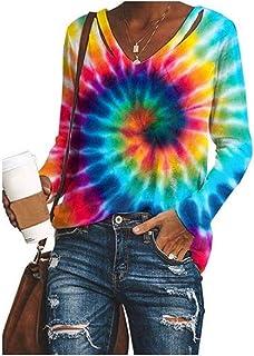 HEFASDM Womens V Neck T Shirts Casual Tie Dye Print Oversized Blouse Top