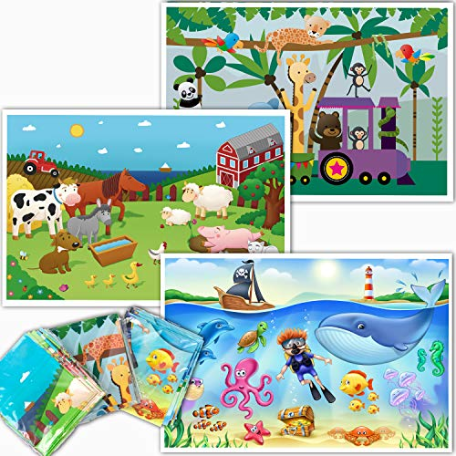 Disposable Stick-On Placemats for Baby - Farm, Ocean and Zoo Animals - Sticky Table Topper for Table - 60 Pack in 3 Designs