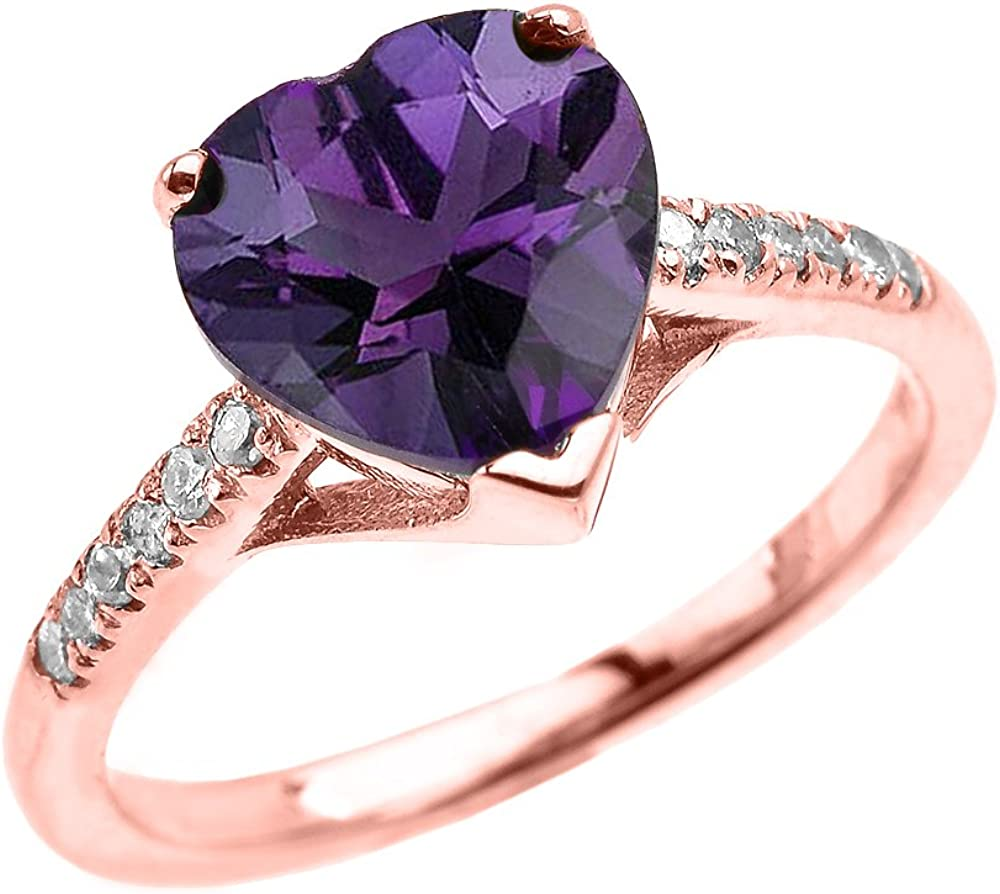 Dainty 14k Rose Gold Solitaire Heart Amethyst and Diamond Engagement Proposal Ring