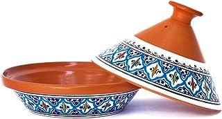 وعاء تاجين صناعة يدوية ومرسوم يدويًا من كامساه | أواني سيراميك مغربي للطهي و الطبخ البطيء (متوسط، تركواز فائق)