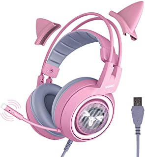 SOMIC SOMIC G951pink Gaming Headset for PC, PS4, Laptop: 7.1 Virtual Surround Sound Detachable Cat Ear Headphones LED, US...