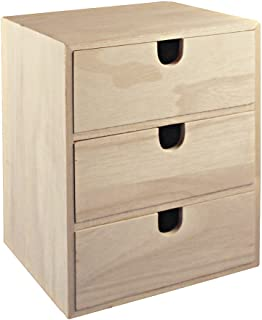 Rayher 62382000 - Petite commode en bois avec 3 tiroirs pour le rangement ordonné de petits accessoires de bureau, de cout...