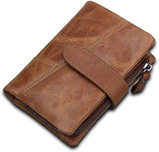 Personalized Genuine Leather Cowhide Leather RFID Wallet Card Holder Casual Fashion Travel Shopping Wallet (Color : Brown, Size : S)