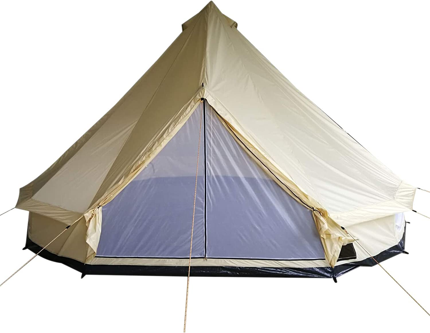 Outsunny 16.4' Large Family Teepee Tent Canvas Bell Tent Camp Shelter in All Seasons for Camping Hunting Beige