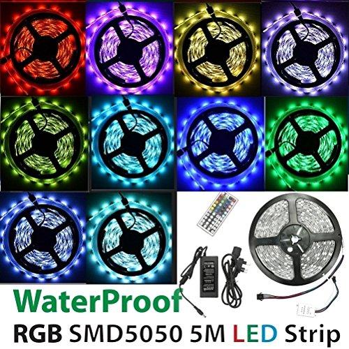 DeliaWinterfel Rotolo di Lucine LED RGB Flessibile Impermeabile 5 Metri 300 LED SMD 5050 - Multicolore con Telecomando by