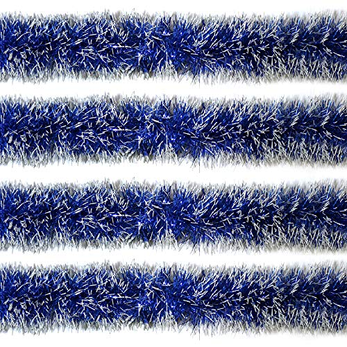 Rocking Party Thin/Slim Luxury Blue & White Tipped Sparkling Christmas Tree Tinsel Decoration (8 Meters)