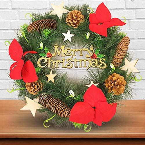 LangRay Weihnachten Kranz, Weihnachtskranz Tannenkranz mit Kugeln Stern Geschenke Weihnachtsdeko Tür Wand Ornament