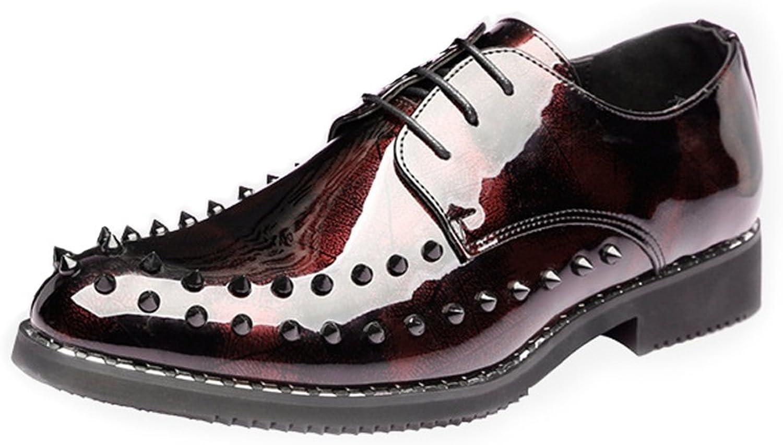 Gräv hundben Man's läder skor Punk Style skor skor skor Smooth PU läder Prom Loafer Lace upp Andningsbart Linje Oxfords med Rivets  snabb leverans och fri frakt på alla beställningar