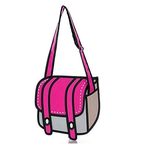46c2636e3f ANKKO 3D Style Drawing Cartoon Messenger Bag Women Crossbody Bag (Rose Red)