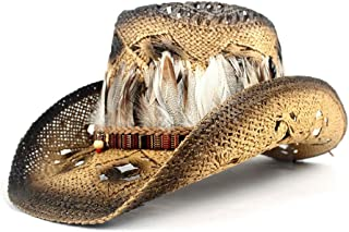 TX GIRL Cowboy Hat Bohemia Feather Women Straw Hollow Western Cowboy Hat Lady Sombrero Hombre Beach Cowgirl Jazz Sun Hat Size 56-58CM Adjust Novelty Party Costumes (Color : Coffee, Size : 56-58)