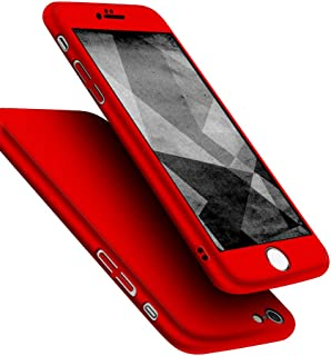 iPhone 6s Case, iPhone 6 Case, Jaorty 360 Full Body Protection Hard Slim Case Coated Non Slip Matte Surface + Tempered Glass Screen Protector for Apple iPhone 6s / 6 (4.7-inch) - Red
