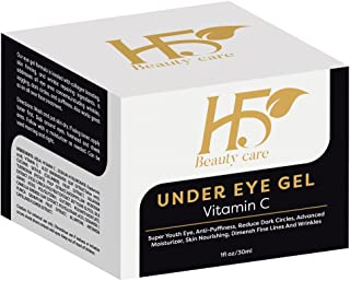 H5Beauty Vitamin C For Face,Eyes/Best Eye Bags Treatment With Hyaluronic acid,Cucumber/Under Eye Gel Reduces Puffiness,Wrinkles; Fine Lines, Safe Effective Dark Circles Removal,None Greasy,Organic/1Oz