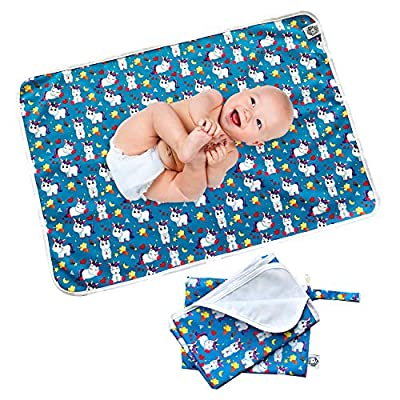 """Flockthree Waterproof Baby Changing Pad with Storage Bag (43.3"""" X 28.7"""") Washable Wipeable Reusable Leak Proof Diaper Travel Mat Station Changing Mattress Liner Cribs Bed Cover, Happy Unicorns"""