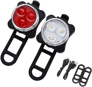 WOTOW Conjunto de luces de bicicleta LED, luces de bicicleta recargables delanteras y traseras USB Lámpara de luces traser...