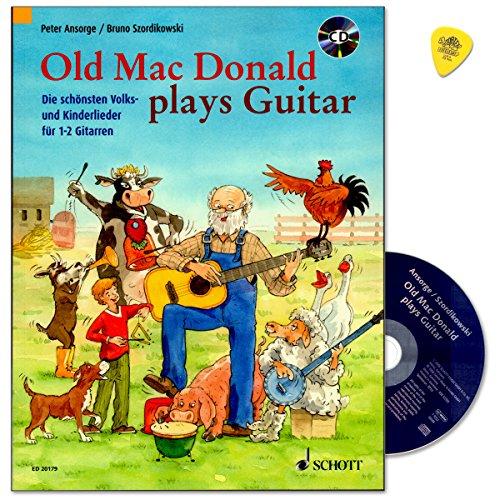 Old Mac Donald plays Guitar - die schönsten Volks- und Kinderlieder für 1-2 Gitarren - für junge Gitarristen ab ca. 8 Jahren - Gitarren-Lehrwerk mit CD und Dunlop Plek