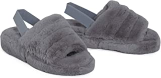 shelikes Womens Sliders Ladies Fluffy Faux Fur Peep Toe Warm Winter Slipper